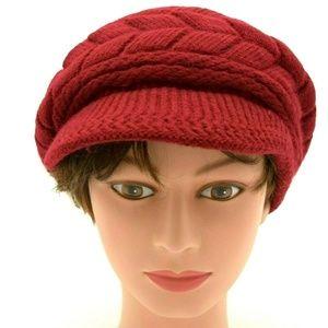 Women Stretch Knit Brimmed Beanie Dark Red New